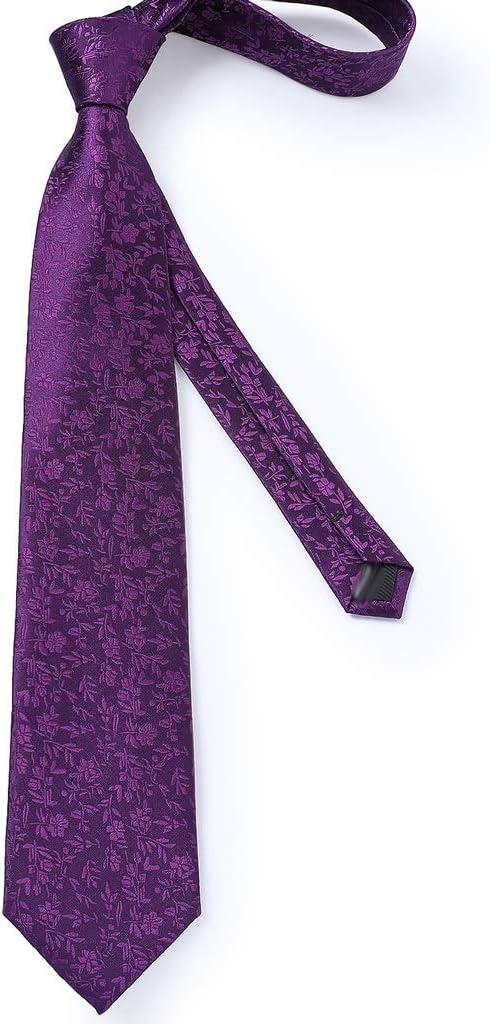 GYZCZX Ties for Men Purple Floral Necktie Business Formal Silk Tie Pocket Square Set for Wedding Party Cravat