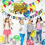 iZoeL Einschulung Deko Schulanfang Schuleinführung Girlande Alles Gute Zum Schulanfang + 40m Wimpelkette + 15 Luftballon + Konfetti + Folienballon für Junge Mädchen - 6