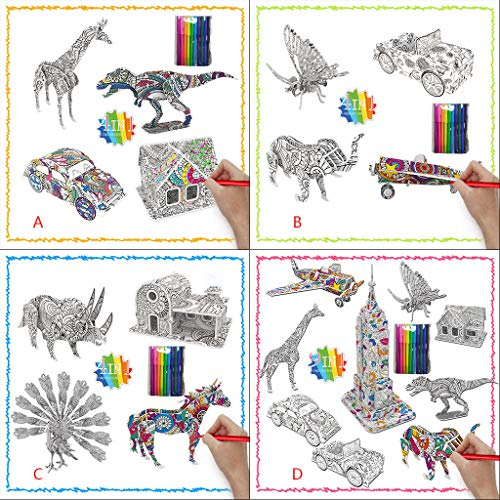 unknow 3D Puzzle for Kids – 4 / 9 different 3D puzzles Gift – Arts and Crafts Set for Girls and Boys Ages 7 8 9 10 11 12 - Fun Art Creative DIY Project Kit - 10Pack with Colouring Pens (C)