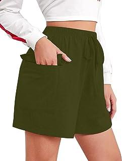 Chriselda Pantalones de Mujer Corto Short Deportivo Mujer de Alcodón Pijamas Mujer Short con Cierre de Elástico Bolsillos ...