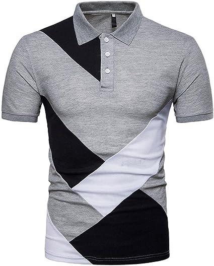 Amazon.com : Hmlai Men's Shirts, Mens Fashion Color Block Slim Fit Tees  Summer Casual Short Sleeve T-Shirts Tops : Sports & Outdoors