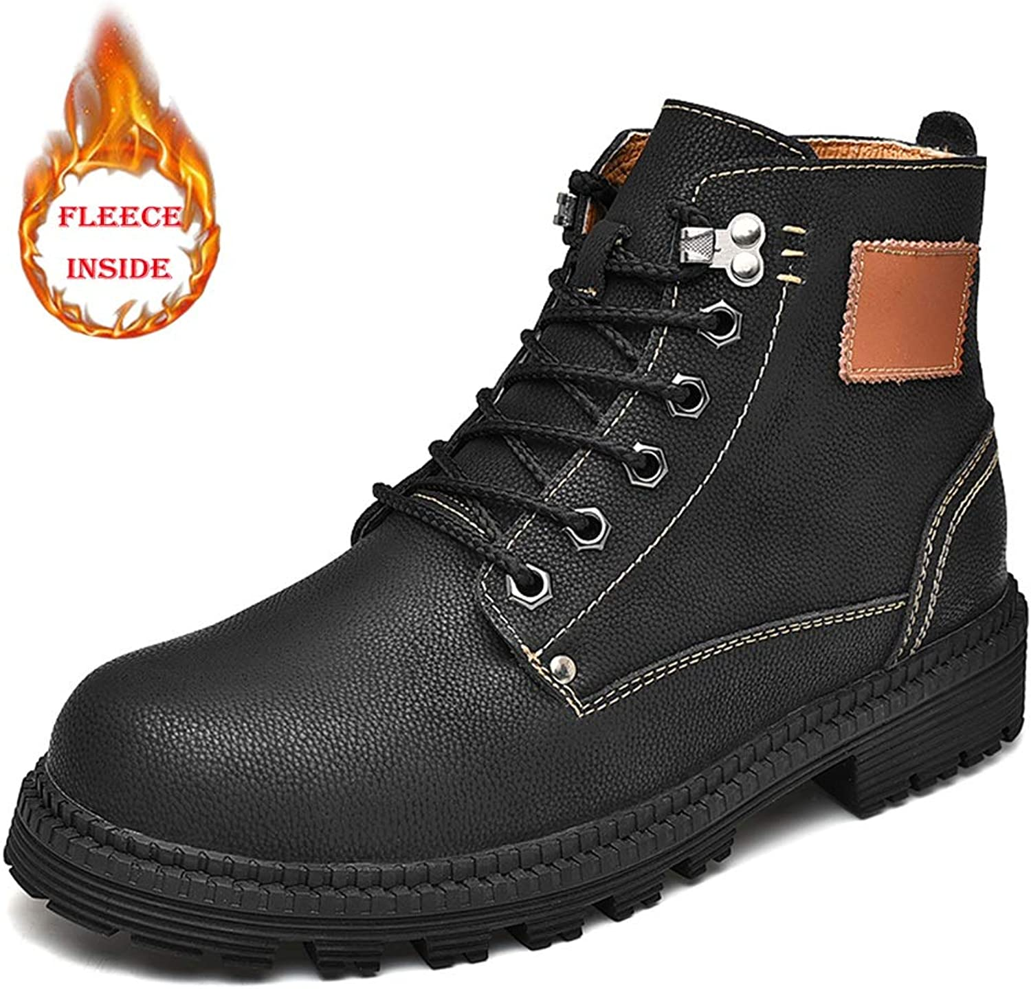 SRY-Fashion shoes Men's Fashion Ankle Work Boot Warm shoes Casual Simple and Comfortable Faux Fleece Inside Retro High Top Boot(Convetional is Optional)