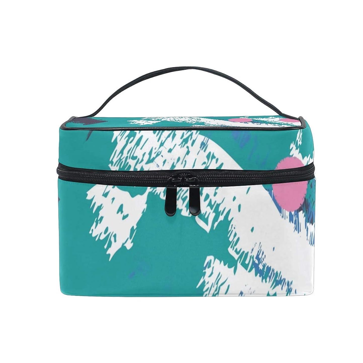 ツインクッションリスクメイクボックス 20代 復古1980芸術柄 化粧ポーチ 化粧品 化粧道具 小物入れ メイクブラシバッグ 大容量 旅行用 収納ケース