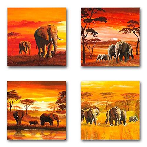 Mia Morro Afrika Bilder Set A, 4-teiliges Bilder-Set jedes Teil 29x29cm, Seidenmatte Optik auf Forex, Moderne schwebende Optik, UV-stabil, wasserfest, Kunstdruck für Büro, Wohnzimmer, XXL Deko Bild