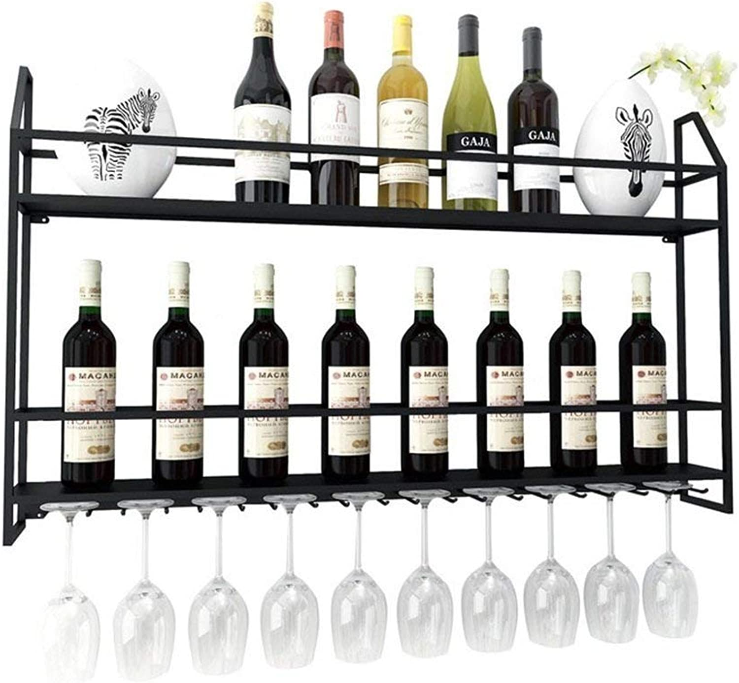 BMY Wall Wine Cabinet Wall Hanging Creative Wrought Iron Wine Rack Simple Wine Rack (Size   60CM)