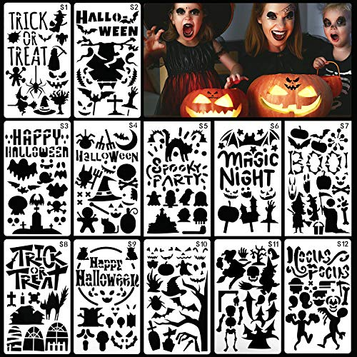 Qpout 12 Halloween Painting templates, DIY Painting Mold Cards and Scrapbook Decoration