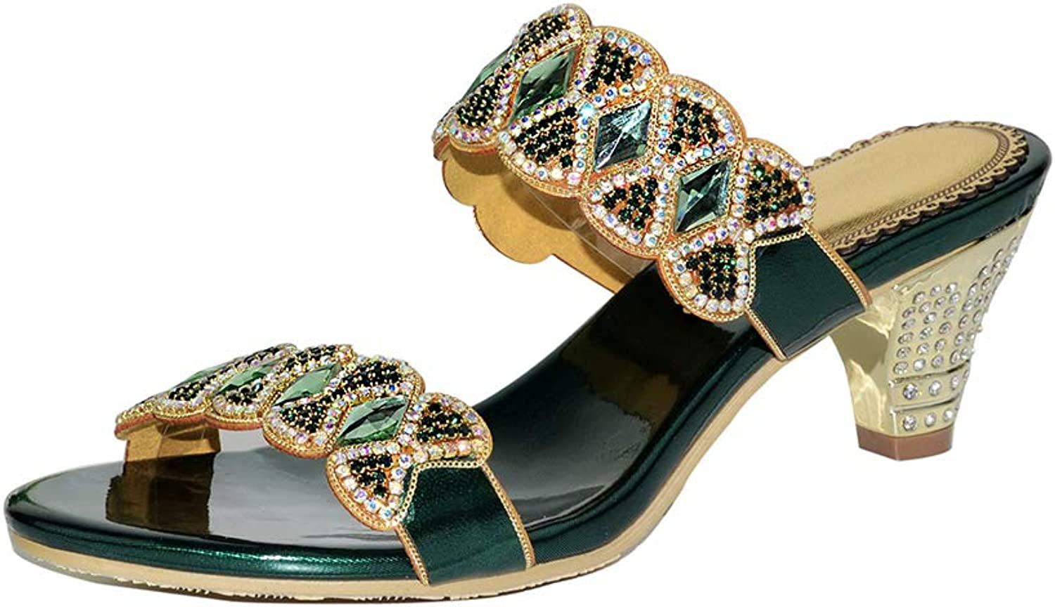 Women's Rome Rhinestone High Heel Sandals Fashion Hollow Wedge Slippers Summer Beach Slippers