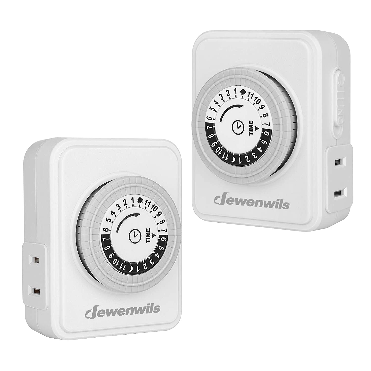 DEWENWILS Indoor Plug in Timer with 2 Polarized Outlets, 24 Hour Mechanical Timer, 30-Minute Intervals, Perfect for Lamps, Holiday Decor, Small Home Appliances, ETL Listed, 2 Pack