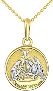 Solid 14k Yellow Gold Round Holy Spirit Baptism Charm Christening Pendant Necklace