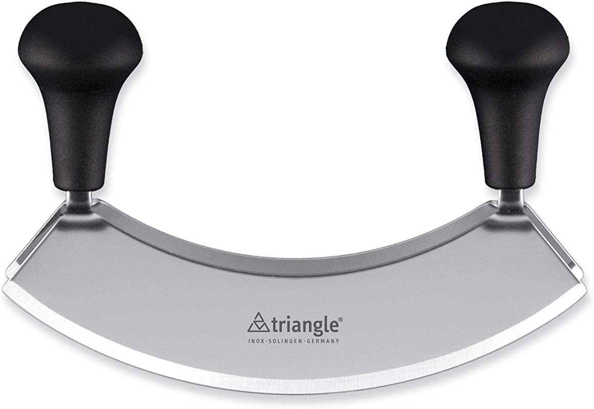 Triangle Germany Mezzaluna Knife 7 Inch Curved Double Blade Rust Free Stainless Steel Professional Grade Design With Ergonomic Handles For Efficient Chopping And Mincing
