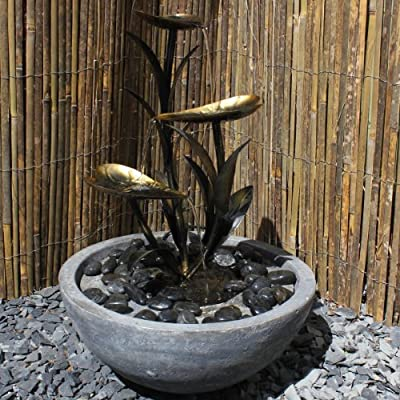 Copper Effect Leaf Water Feature with Resin Base (Solar Powered) with Battery Back Up