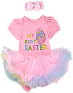 814d83e3e44 Crazydoo Baby Girls My First Easter Eggs Outfit Sets Rainbow Pleated Tutu  Skirt Sets