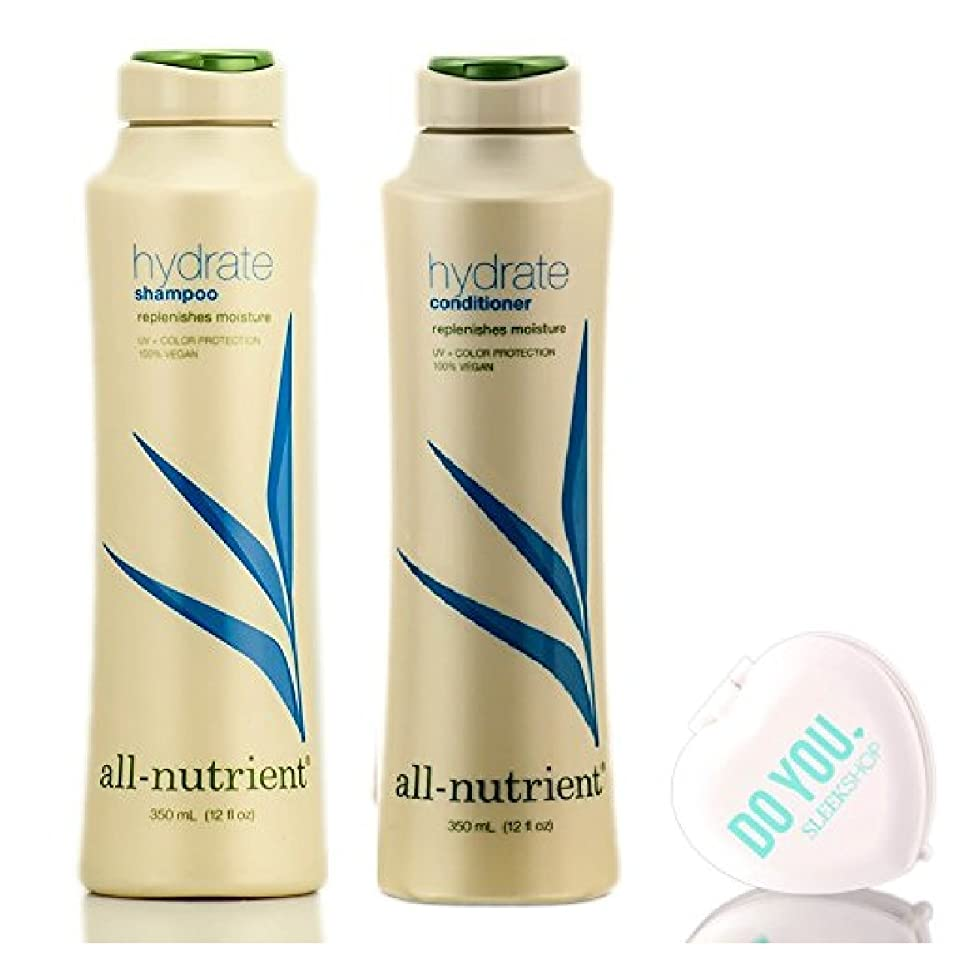 All Nutrient Hydrate Shampoo & Conditioner DUO Set, replenishes moisture (with Sleek Compact Mirror) (12 oz DUO Kit)