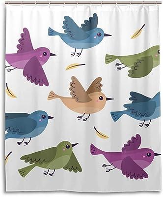 シャワーカーテン バスカーテン 鳥 かわいい 飛び フック カーテン 間仕切り バズルーム 防水 防カビ加工 目隠し お風呂 取り付け簡単 カーテンリング付き 軽量 浴室 洗面所