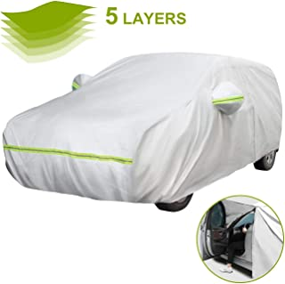 Favoto Hatchback Car Cover 5 Layers Universal Fit 157 to 171 inch Driver Side Door Zipper Design Protection from Sun Rain Windproof Dustproof Snow Leaves Scratch Resistant Full Exterior Cover