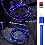 3ft Visible Flowing LED USB Cable Sync Data Fast Charger Cord for iPhone 11/iPhone Xs MAX/XR/ /8/8 Plus/7/7 Plus/6/6 Plus, iPod and iPad and More-with Cell Phone Finger Ring Stand(Blue)