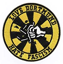 BVB Aufnäher Motiv Love Dortmund hate Facism 8 x 8 cm