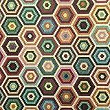 Kt KILOtela Tessuto arredo - Gobelin - Tappezzeria - Scampolo: 100 cm Lunghezza x 280 cm Larghezza | Esagoni concentrici - Multicolore ─ 1 Metro