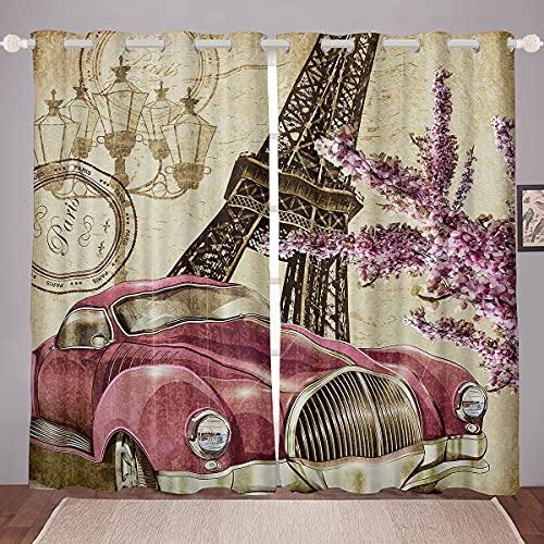 Erosebridal Eiffel Tower Window Treatments Curtains Paris Theme Curtains for Girls Teens Women,Lavender Flower Window Curtains Retro Purple Car Window Drapes 2 Panel Set 52' Wx90 L