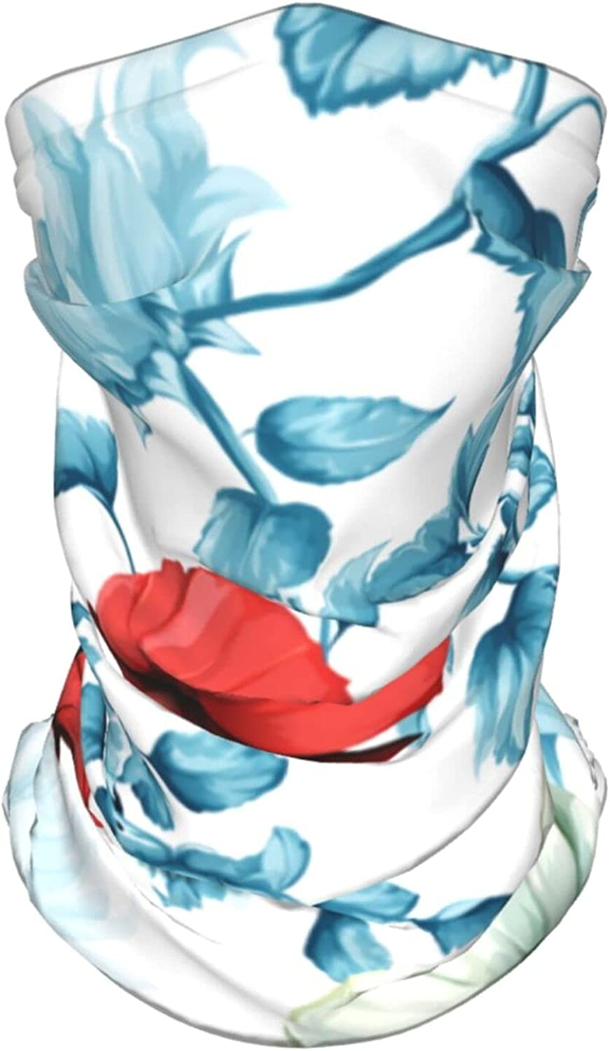 Sunflowers Pomegranate Buds Poppy Floral Summer Ice Silk Breathable Face Mask Neck Gaiter Scarf Bandanas for Fishing,Hiking,Running,Motorcycle and Daily Wear