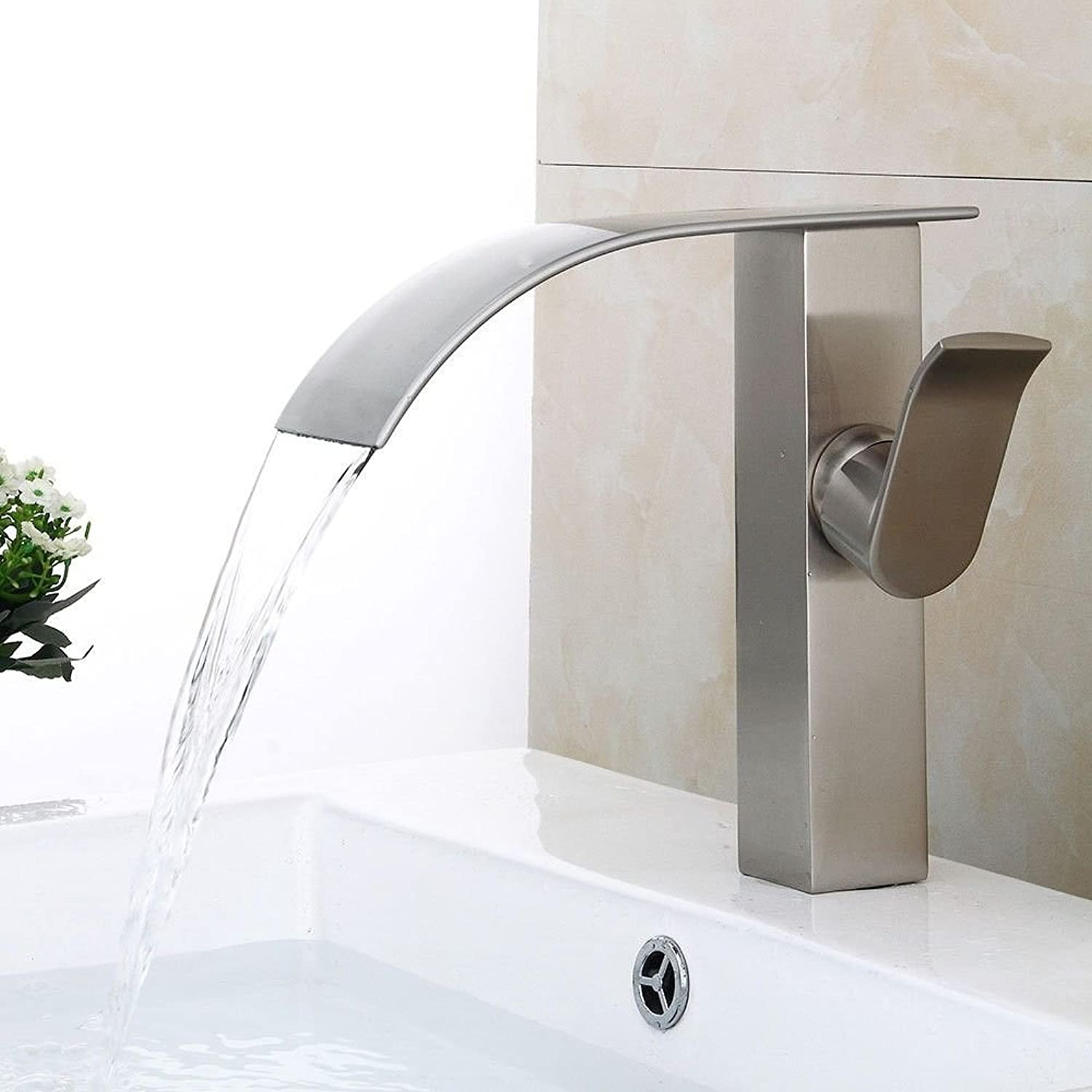 Janitorial & Sanitation Supplies Lalaky Taps Faucet Kitchen Mixer Sink Waterfall Bathroom Mixer Basin Mixer Tap for Kitchen Bathroom and Washroom Led Color Changing Lamp Glass Waterfall Single Hole