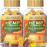 2 Pack Hemp Gummies, HOOLOO 800,000MG Vegan Hemp Gummy Bears for Relaxing, Sleep Better, Reduce Stress Anxiety, Natural Hemp Extract Gummies, Made in USA