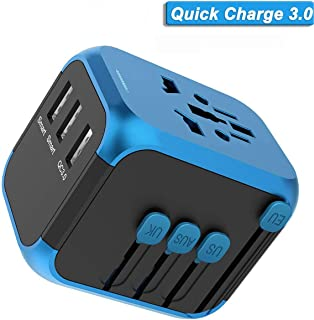 Quick Charge 3.0 Travel Adapter, All in one Universal Travel Adapter, International Travel Adapter QC 3.0, World Travel Plug Adapter Fast Charging for UK, EU, AU, Asia Over 190 Countries