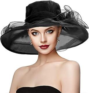 Dafunna Women's Summer Hat Sun Hat Organza Hat Sun Hats Elegant Flowers Fascinator Hat Derby British Church Wedding Vintage Party