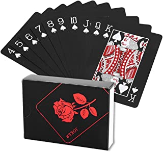 Dioche Playing Card, Plastic Waterproof Rose Plated Black Poker Cards Deck Magic Playing Card