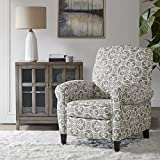 Madison Park Kirby Recliner Chair - Solid Wood, Plywood, Rolled Back Button Tufted Accent Armchair Modern Classic Style Family Room Sofa Furniture, Grey