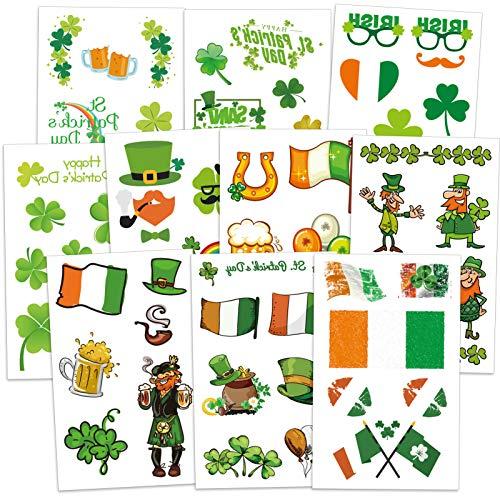 Qpout St. Patricks Day Temporäre Tattoos, 10 Shamrock Clover Leprechaun Temporäre Tattoos für Kinder, Bier Regenbogen Goldene Münze Temporäre Tätowierung für Mädchen Jungen St. Patricks Party