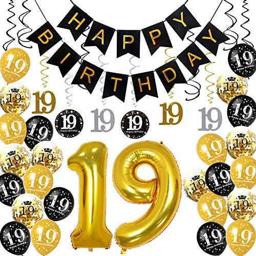 HankRobot 19th Birthday Decorations Party Supplies(42pack) Gold Number Balloon 19 Happy Birthday Banner Latex Balloons(Black, Golden) Confetti Balloons -Great for 19 Years Old Birthday Party