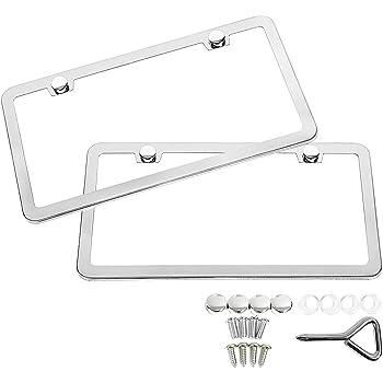 SunplusTrade 2 PCS Stainless Steel Polish Mirror License Plate Frame + Chrome Screw Caps (Silver)