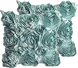 SeptCity Decorative Throw Pillow Covers for Couch Cushion Case, Romantic Love Satin Rose Wedding Party Home Decor, Home Gift (Set of 2)-Turquoise
