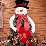 OurWarm Snowman Christmas Tree Topper Large Snowman Tree Topper with Top Hat Scarf Hugger for Christmas Holiday Winter Home Wonderland Party Decoration Ornament Supplies