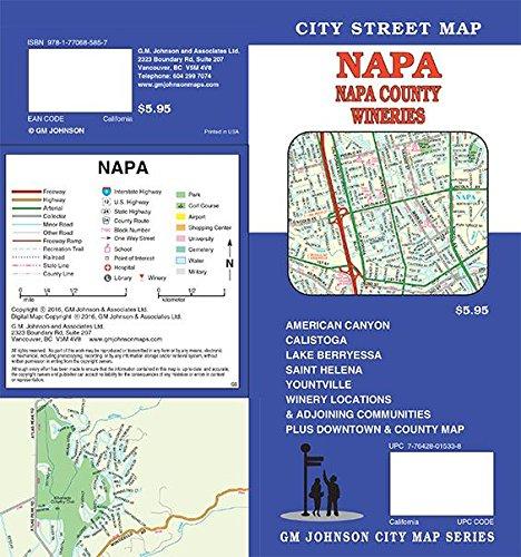 Napa County & Wineries, California Street Map