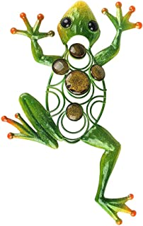 Liffy Frog Wall Decor Outdoor Metal Art Decorative Glass Sculpture Green for Garden