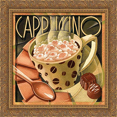 Edinjiklian, Teddy 20x20 Gold Ornate Framed Canvas Art Print Titled: Cappuccino and Cafe B