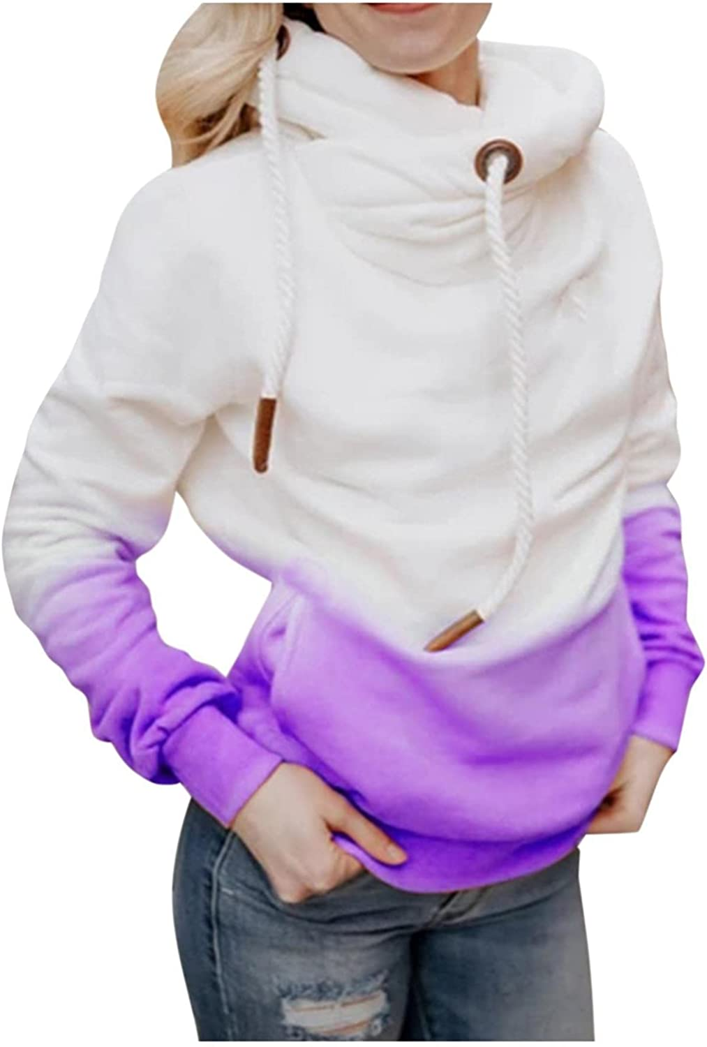 Gibobby Hoodies for Women Pullover Tie Dye Color Long Sleeve Sweatshirts Cowl Neck Oversized Drawstring Winter Blouses