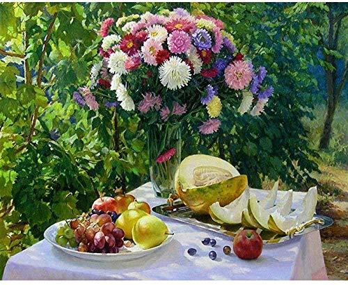 Smntt 1000 Piezas Jigsaw Piezas Adultos Rompecabezas Flores y Frutas en la Mesa. Adultos y niños Juegos de Rompecabezas