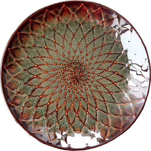 WXiaJ-assiette Kiln Baie vitrée avec Plaque céramique Pétale gaufrée Design Restaurant Party Creative Arts de la Table