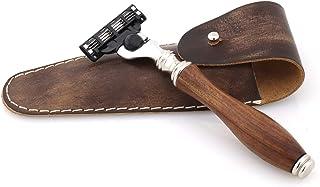 Jag Shaving Safety Razor - Duurzaam 3 Edge Scheermes voor mannen en vrouwen - Elegant design scheerscheermesje - Lederen e...