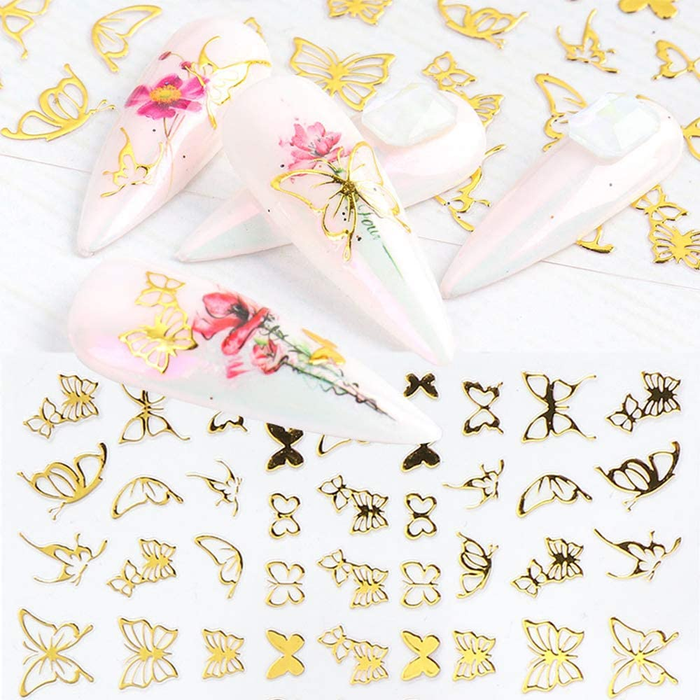 15 Sheets Butterfly Branded goods Gold Nail 3D Stickers Art Self-Adhesive NEW Nai
