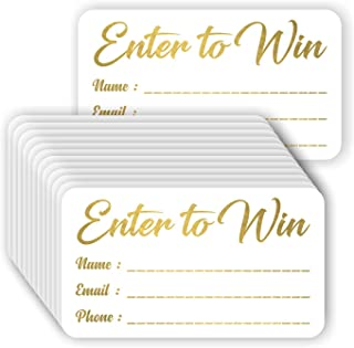 Enter to Win Cards - (Pack of 100) Gold Foil Letterpress 3.5 x 2 Raffle Tickets Contest Entry Card Lucky Draw Blank Member ID
