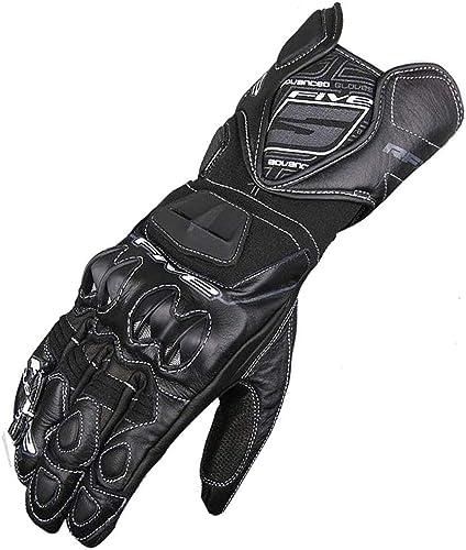 Qiusa Guantes de Moto Guantes de Moto para Hombre Motocross Projoective Gear Guantes de Ciclisão de Cuero (Color   negro 01, Tamaño   X-Large)