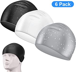 6 Pieces Waterproof Swimming Cap Silicone Swim Caps for Men and Women Supplies,  Black,  White and Gray