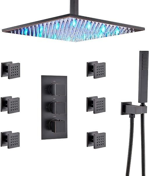 HOMEDEC 恒温雨搅拌器淋浴组合套装天花板安装 LED 16 英寸淋浴头 6 体喷雾和黄铜手淋浴油擦青铜