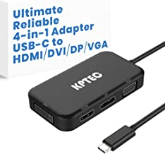 Ultimate 4-in-1 4K USB-C to HDMI, DVI, VGA DisplayPort DP Hub Adapter, Compact USB 3.1 Type C Multiport UHD Converter for Macbook Pro 2017, Laptop, Notebook, Thunderbolt 3 Compatible Devices, Black