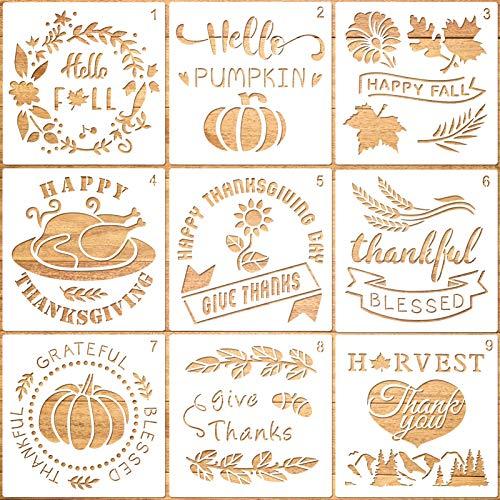 Qpout 9 Stück Thanksgiving Malvorlagen Kürbisschablonen zum Malen Herbstblatt Ernte Wandschablonen zum Malen DIY Card Art Schablonen und Vorlagen zum Malen