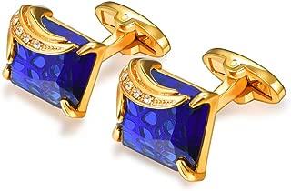 Crystal Cufflinks Women Men Metal Gold/Platinum Plated Fancy Stone Cuff Links